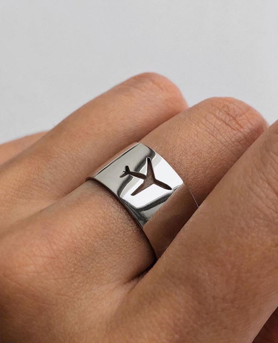 Кольцо из серебра Самолет