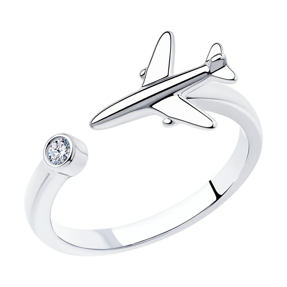 Кольцо из серебра с фианитом Самолет