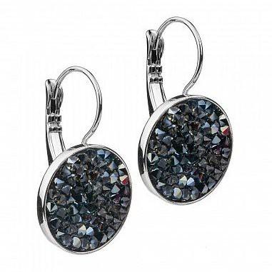 Серьги с кристаллами Swarovski Jet Crystal Rocks Fiore Luna