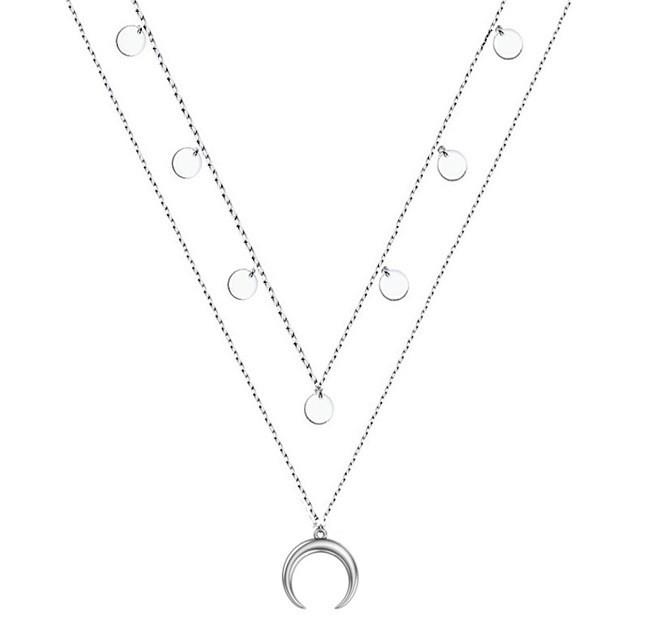 Колье из серебра Лунница и медальоны