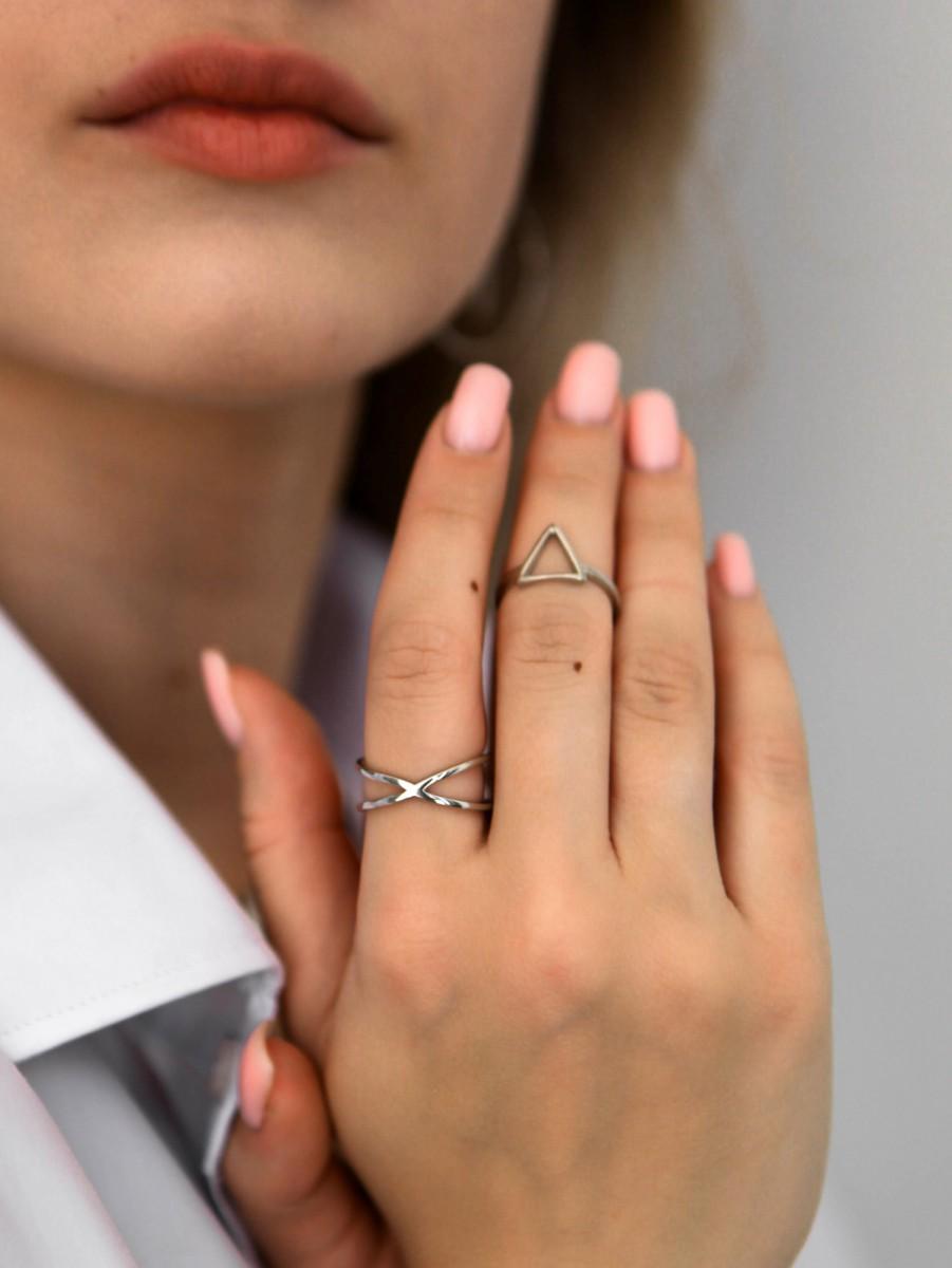 Кольцо из серебра Икс