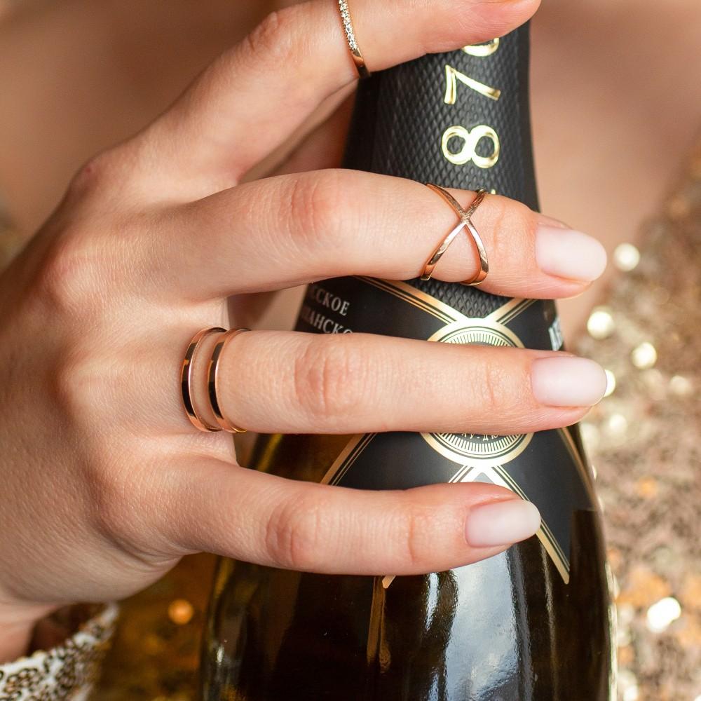 Кольцо из золоченого серебра на фалангу