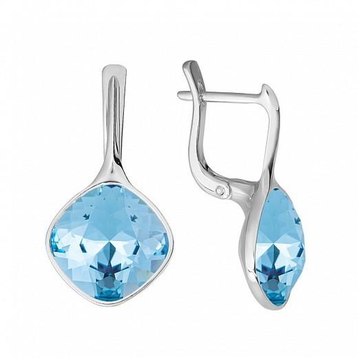 Серьги из серебра с кристаллами Swarovski® Aquamarine